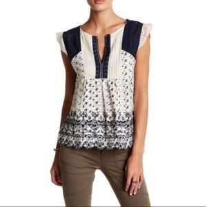 Lucky Brand floral embroidered blouse
